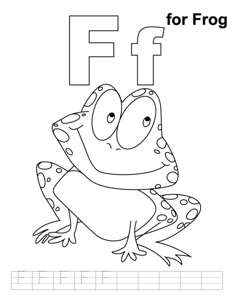 Free Alphabet Coloring Pages F For Frog