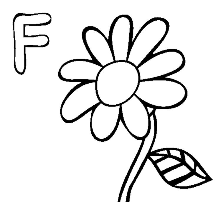 Free Alphabet Coloring Pages Flower F