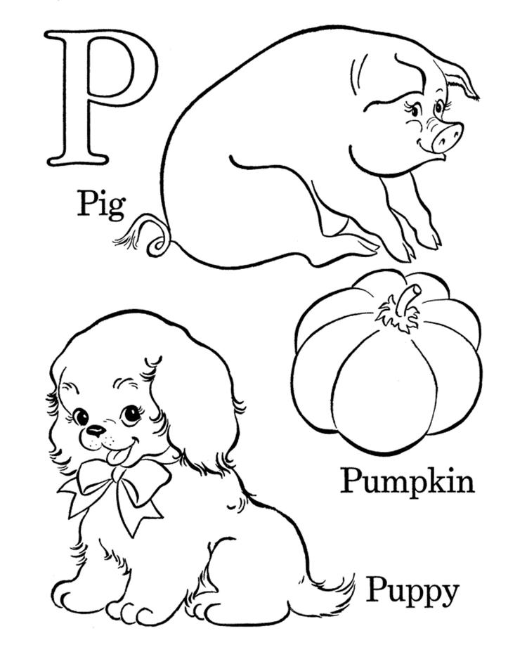 Free Alphabet Coloring Pages P Words