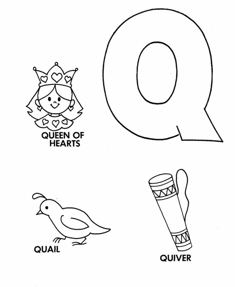 Free Alphabet Coloring Pages Q Words
