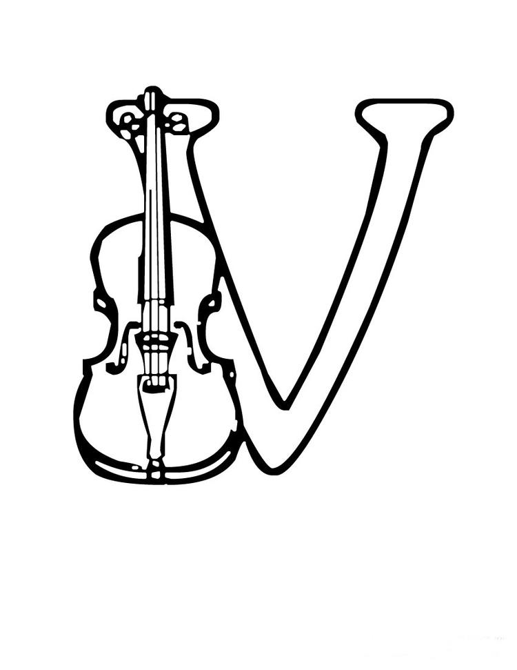 Free Alphabet Coloring Pages Violin
