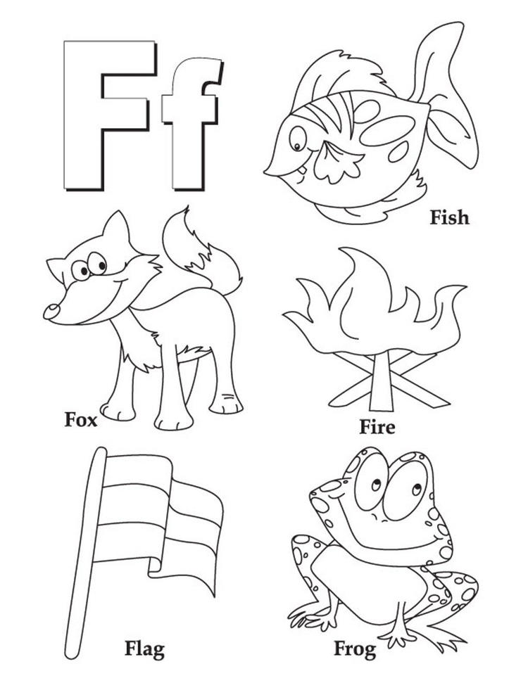 Free Alphabet Coloring Pages Words Of F