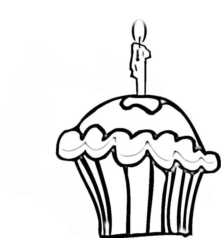 Free Birthday Cupcake Coloring Pages