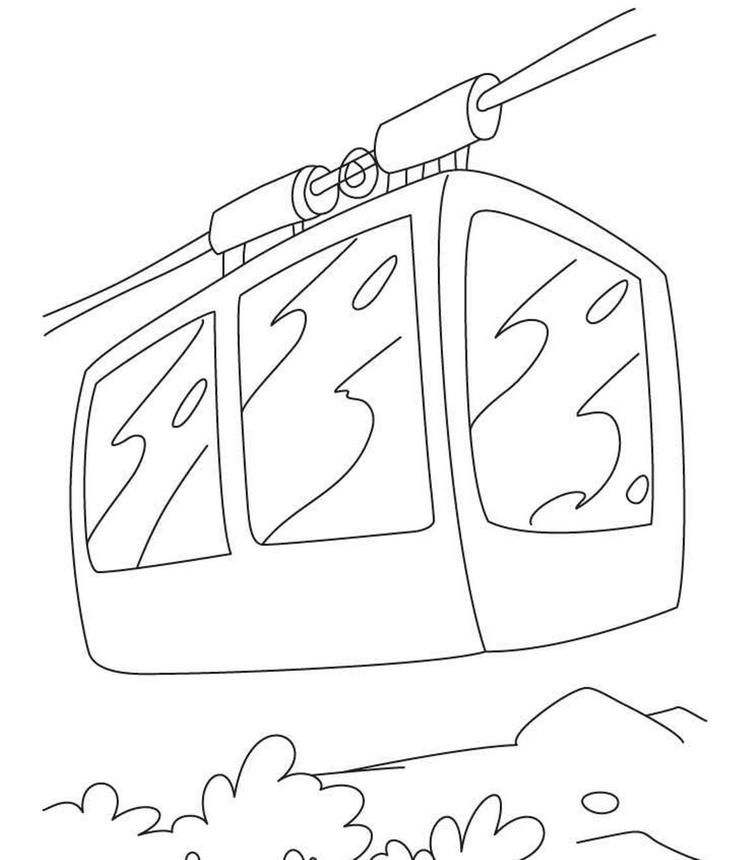 Free Cable Car Coloring Page
