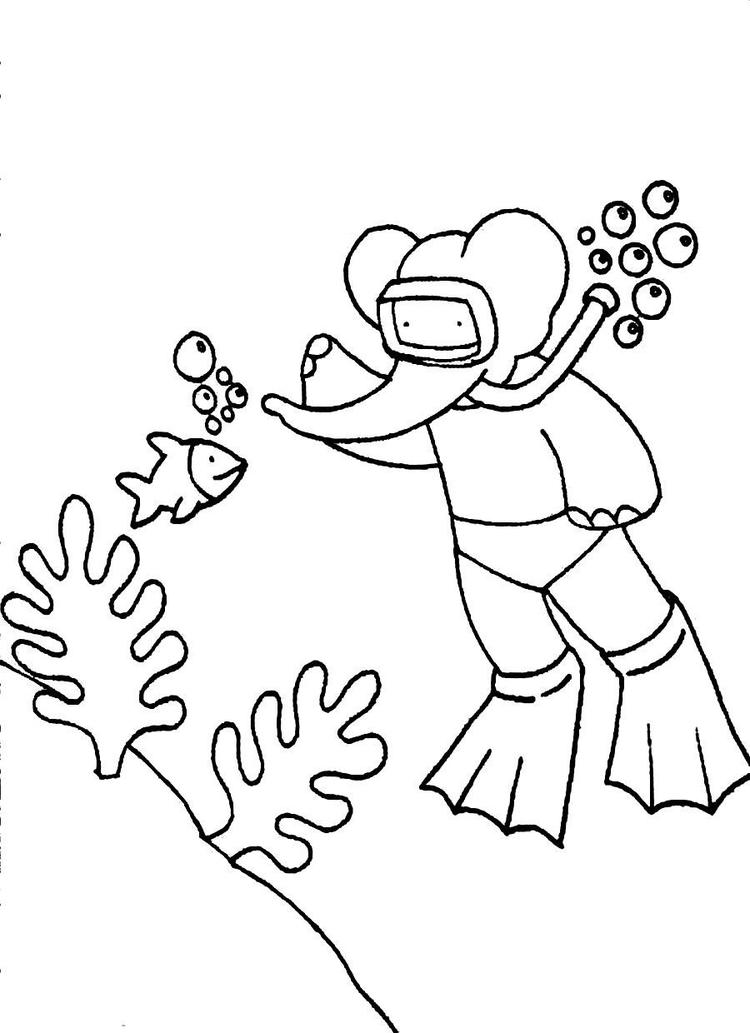 Free Cartoon Coloring Pages Babar Diving Under The Sea