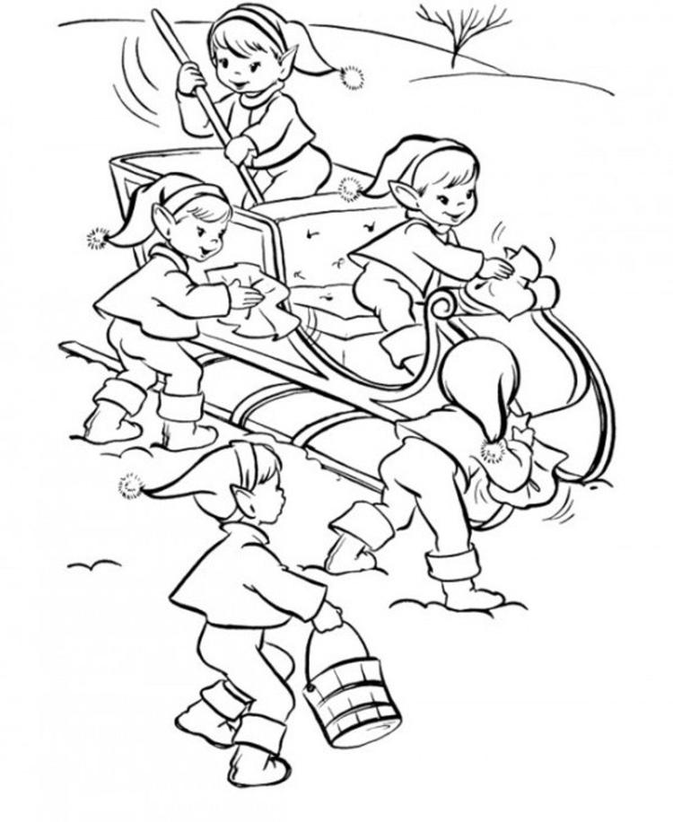 Free Christmas Elf Coloring Pages