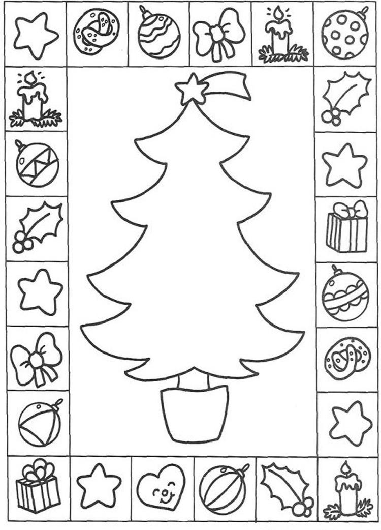 Free Coloring Pages Christmas Tree And Presents