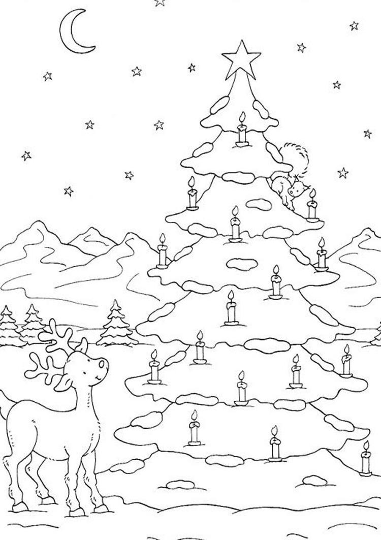 Free Coloring Pages Christmas Tree On Snow