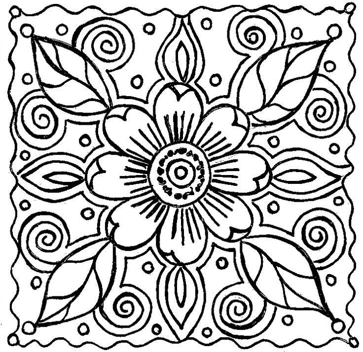 Free Coloring Pages For Adults Abstract Flowers