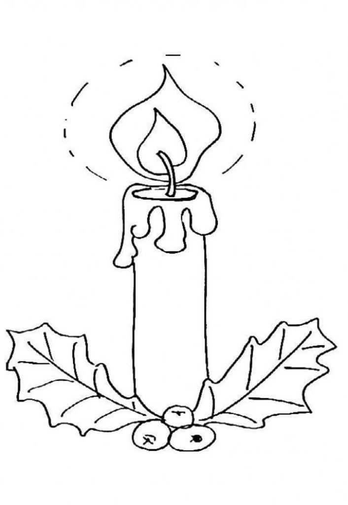 Free Coloring Pages For Christmas Candle Bright