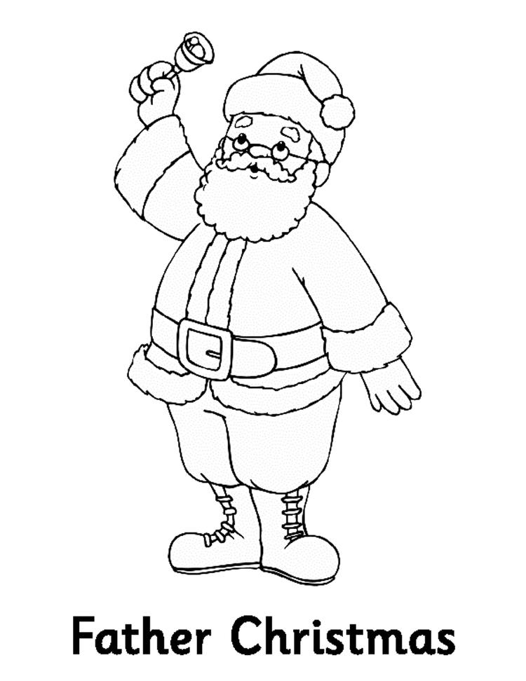 Free Coloring Pages For Christmas Santa Ringing The Bell