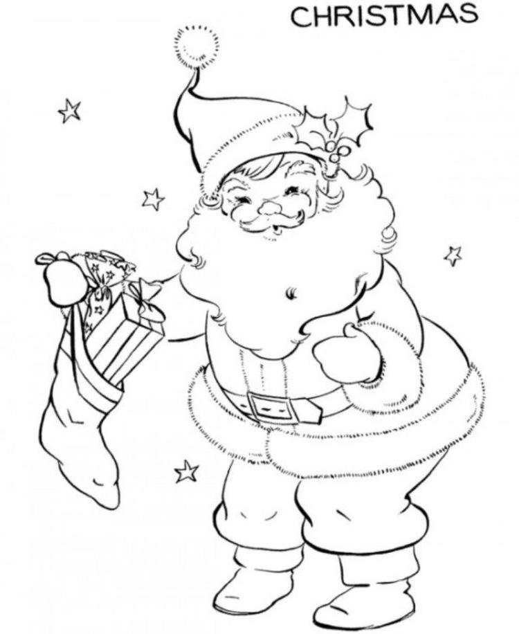 Free Coloring Pages For Christmas Santa