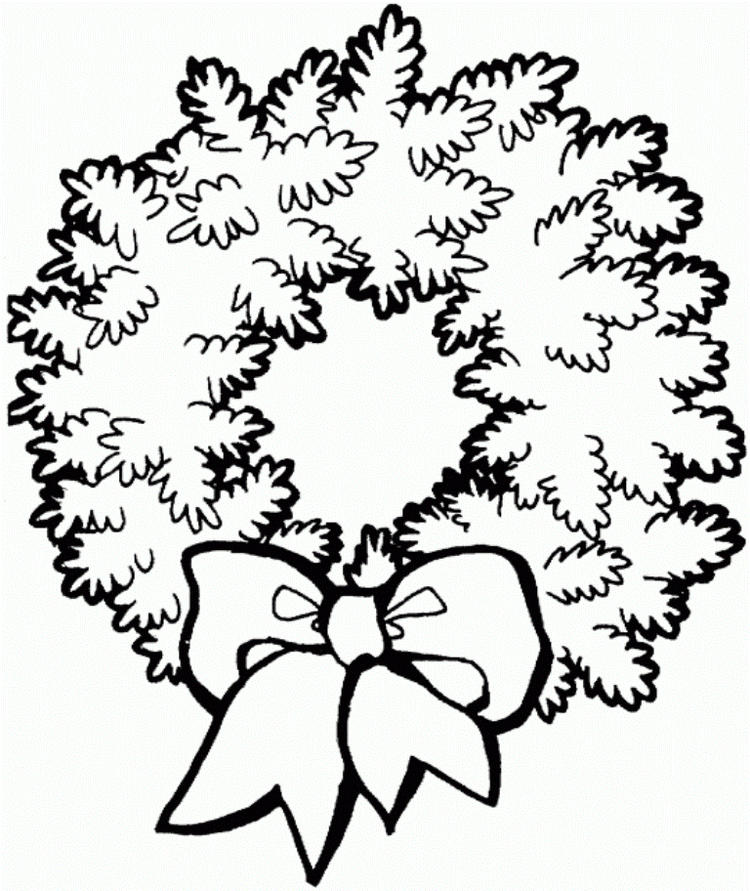 Free Coloring Pages For Christmas Wreath For Kids