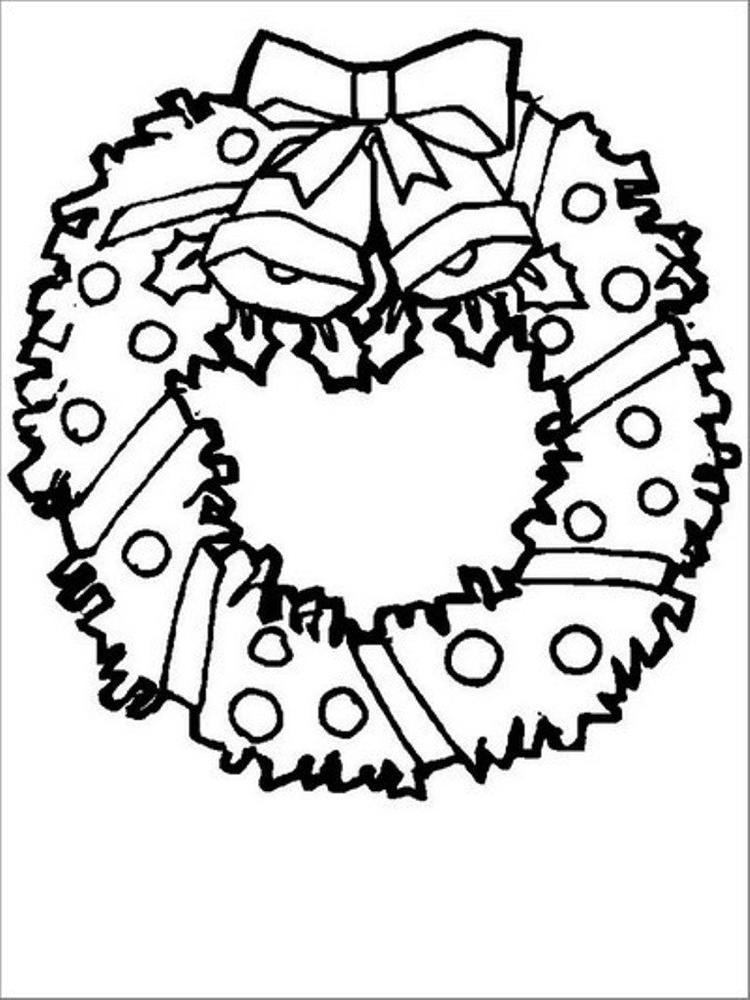 Free Coloring Pages For Christmas Wreath For Preschool