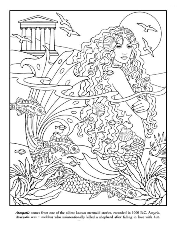Free Coloring Pages For Teenagers Difficult Mermaid 5