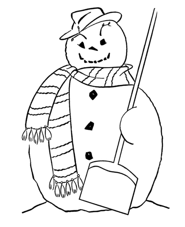 Free Coloring Pages Winter Snowman