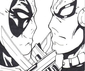 Free deathstroke vs deadpool coloring pages