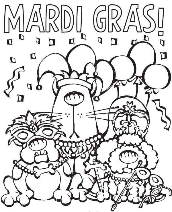 Free Mardi Gras Coloring Pages Printable