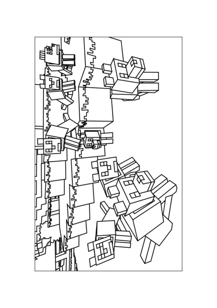Free Minecraft Wolves Coloring Pages Printable