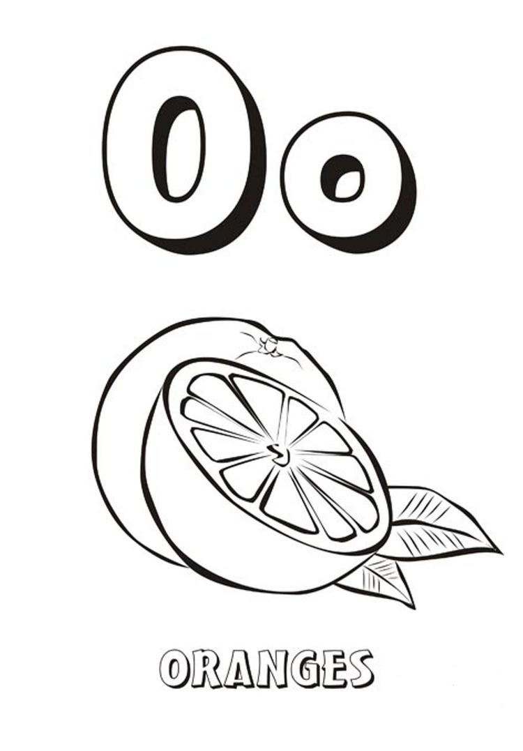 Free Oranges Alphabet Coloring Pages
