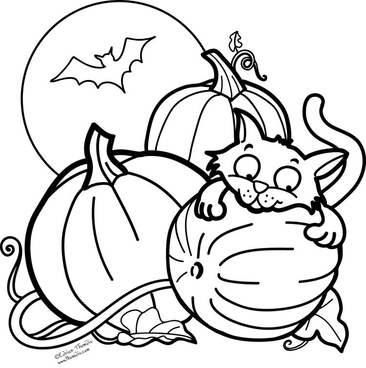 Free Pumpkin Halloween Cat Coloring Pages