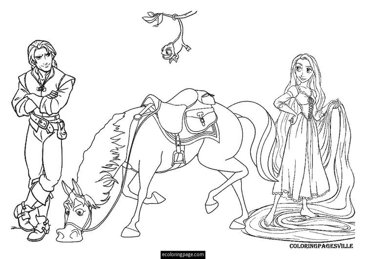 Free Rapunzel And Pascal Coloring Pages