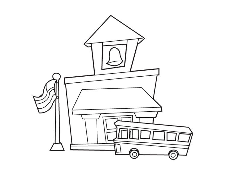 Free School House Coloring Pages 1