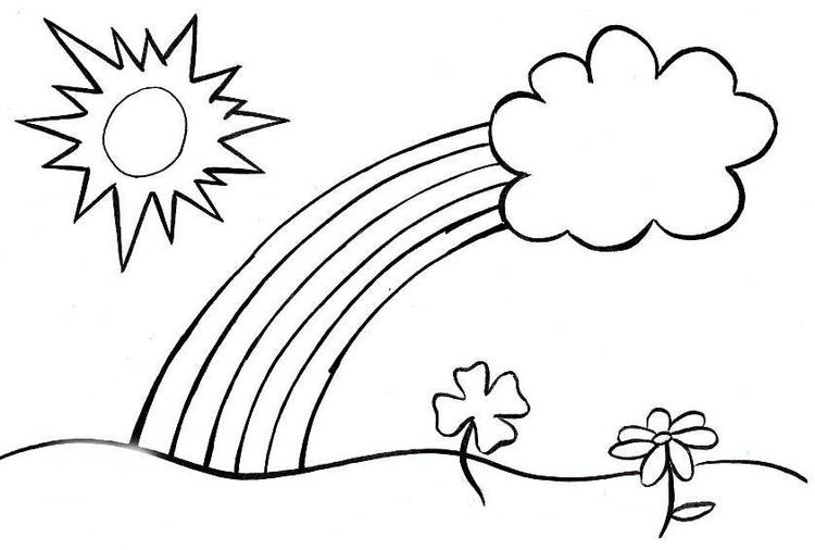 Free Spring Rainbow Coloring Pages