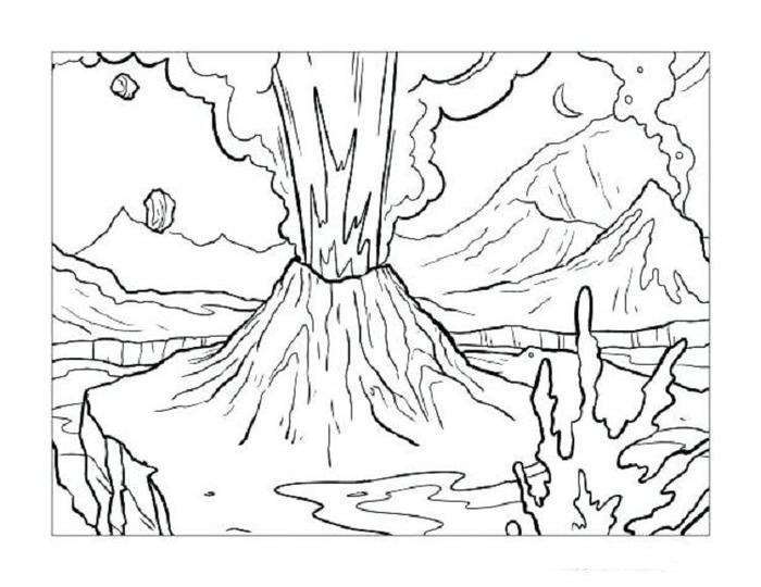 Free Volcano Coloring Pages