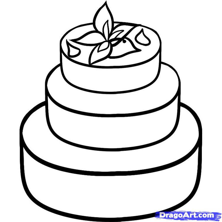 Free Wedding Cake Coloring Pages 1
