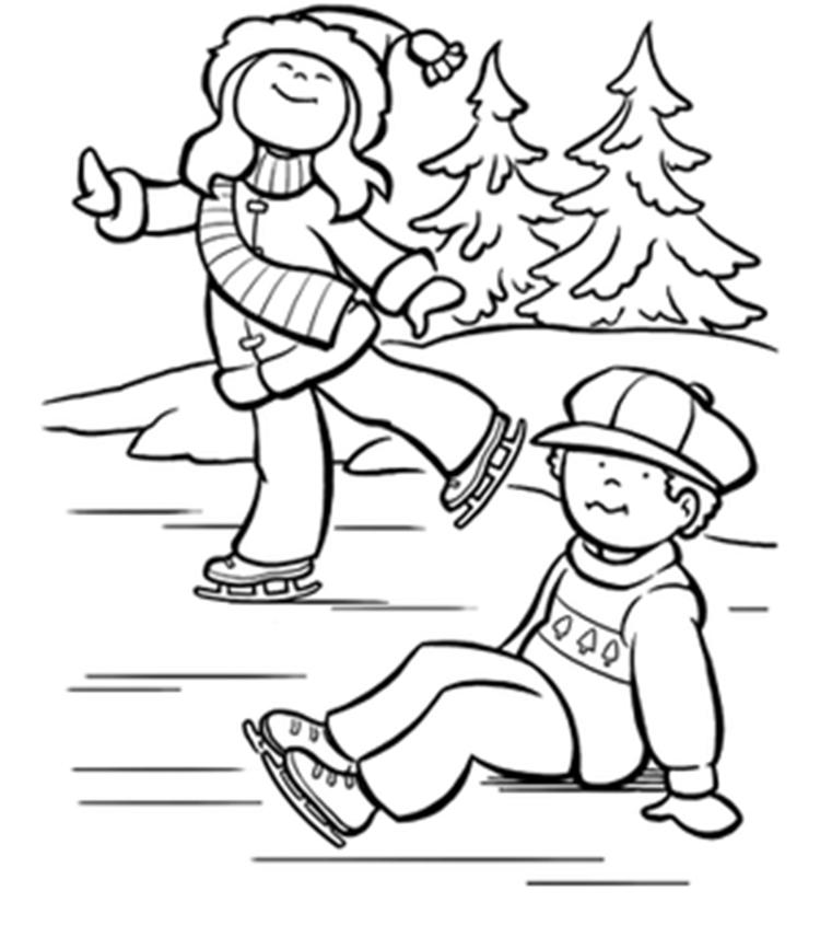 Free Winter Coloring Pages Ice Skating Kids