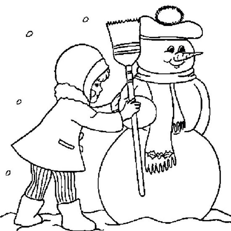 Free Winter Coloring Pages Making A Snowman
