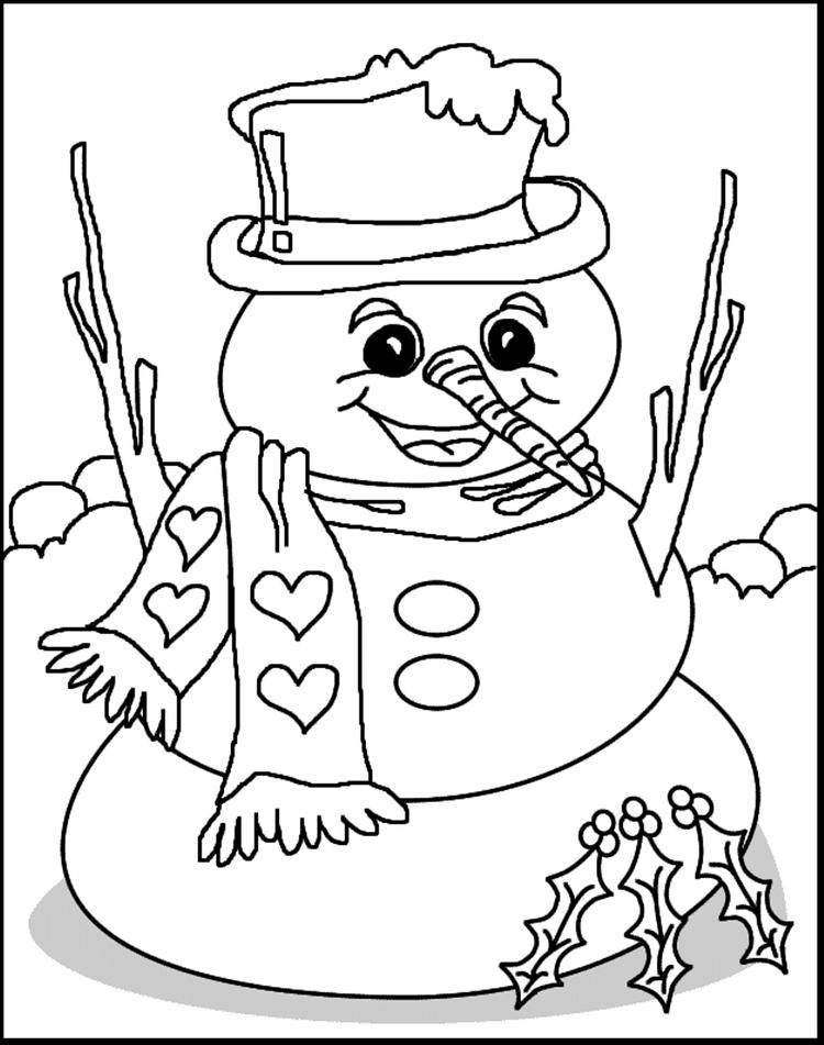 Free Winter Coloring Pages Snowman Printable
