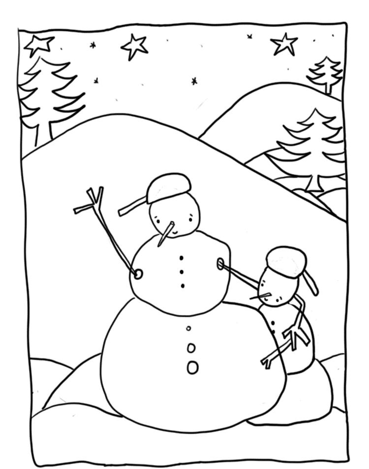 Free Winter Coloring Pages Snowman