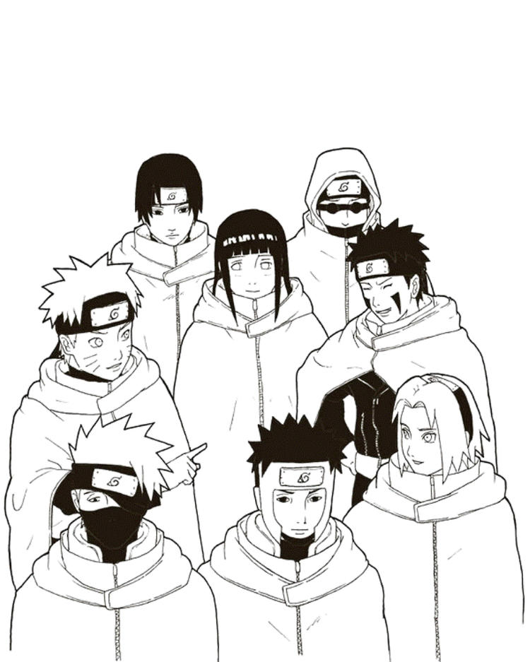 Friends And Naruto Coloring Pages
