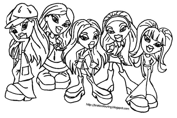 Friends Bratz Cheerleading Coloring Pages