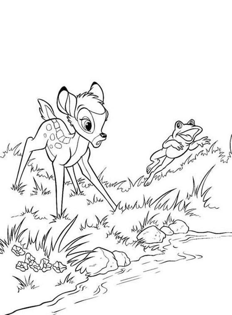 Frog And Bambi Coloring Pages