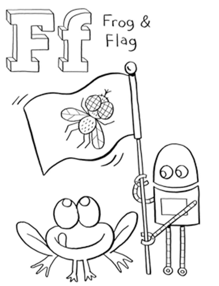 Frog And Flag Free Alphabet Coloring Pages