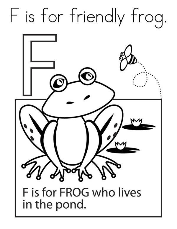 Frog For Alphabet Letter F Coloring Page