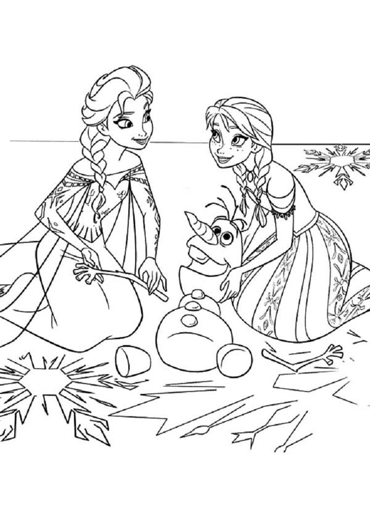Frozen Coloring Pages Anna And Elsa And Olaf