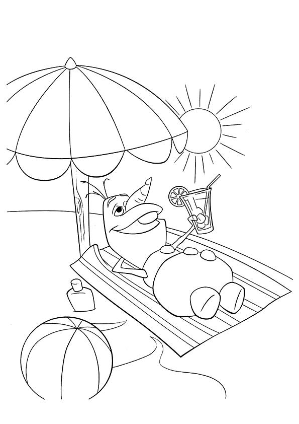Frozen Coloring Pages Olaf At The Beach