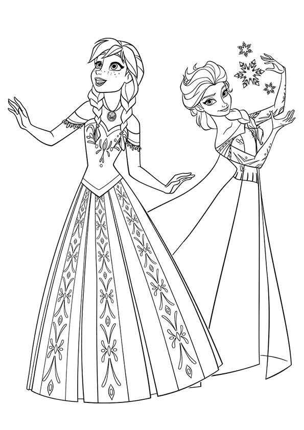 Frozen Coloring Pages Princess Anna And Elsa