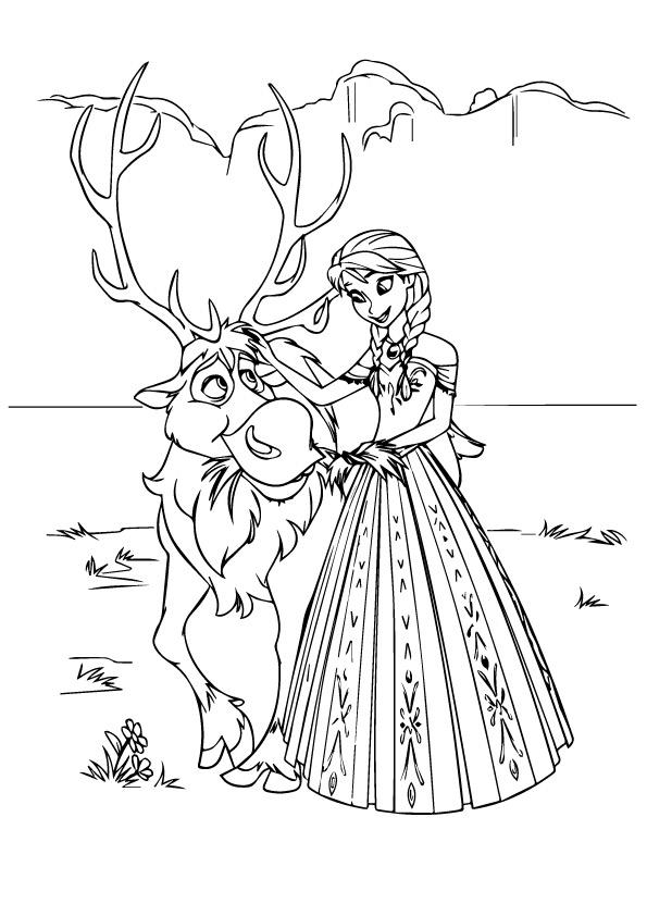 Frozen Coloring Pages Sven And Anna