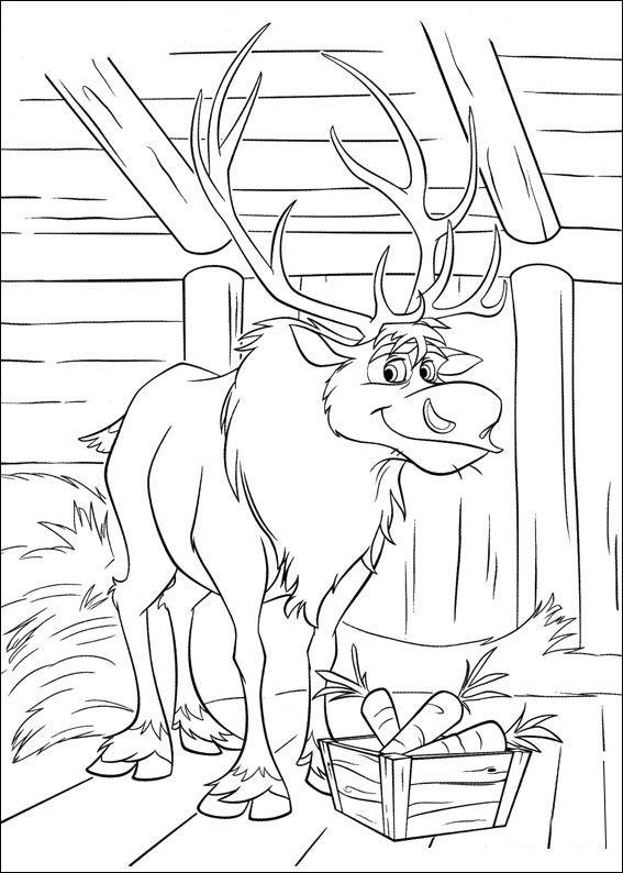 Frozen Coloring Pages Sven The Reindeer