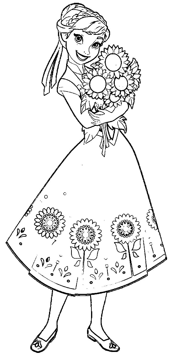 Frozen Fever Anna Coloring Pages