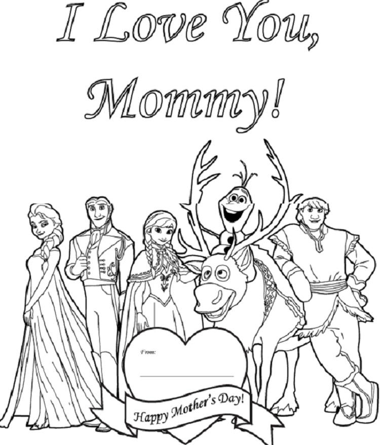 Frozen Mothers Day Coloring Pages