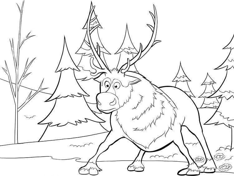 Frozen Reindeer Coloring Pages