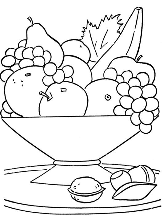 Fruit coloring pages for kids printable