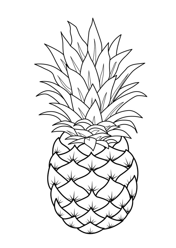 Fruit Coloring Pages Pineapple