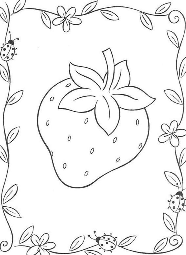 Fruit Coloring Pages Printable Strawberry